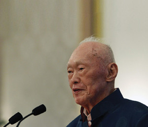 Singapore's former Prime Minister Lee speaks during his book launch at the Istana in Singapore